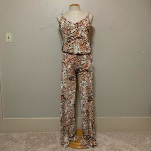 Veronica M Rust Teal Cream Jumpsuit Size Small